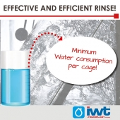 During washing an effective rince cycle is essential to preserve the cages' plastic material and to ensure the complete removal of all detergent residues!